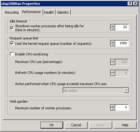 Screenshot showing where to change settings for queue handling in IIS